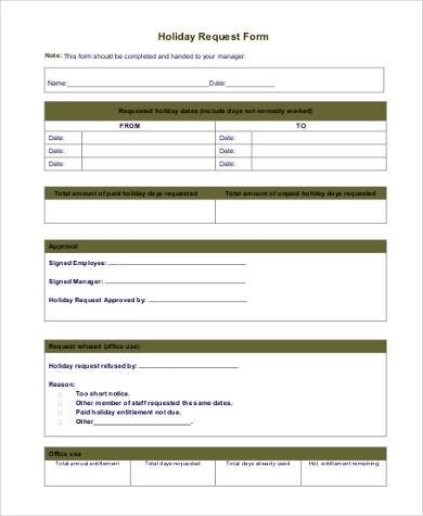 sample holiday request form1