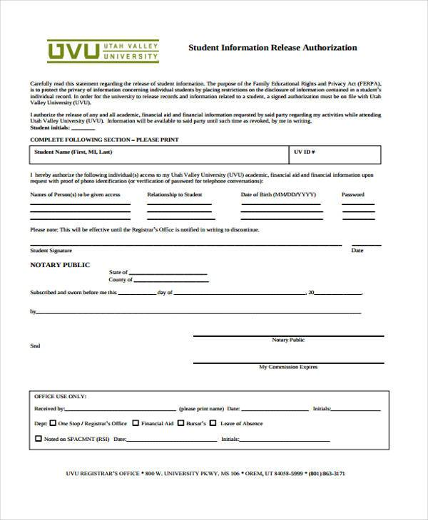 sample information release consent form