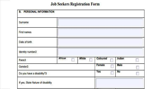 Sample Job Registration Forms Free Documents In Word PDF - Job application template word document