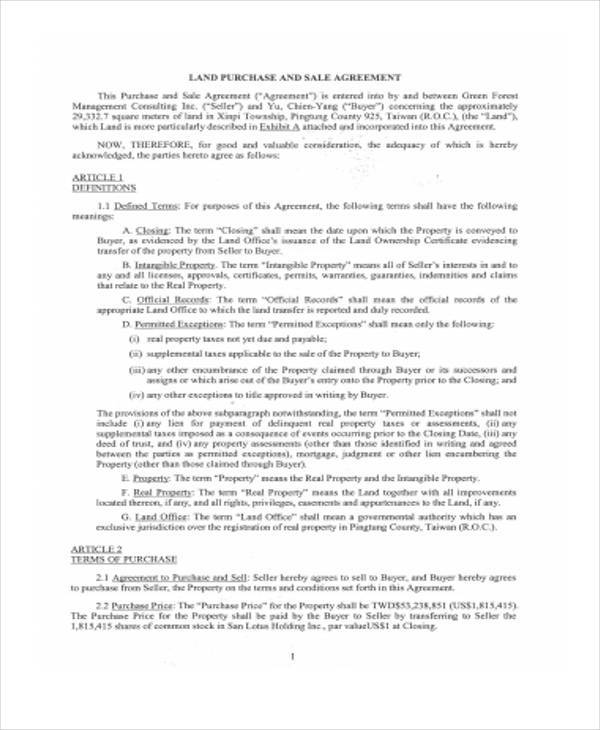 sample land purchase contract form