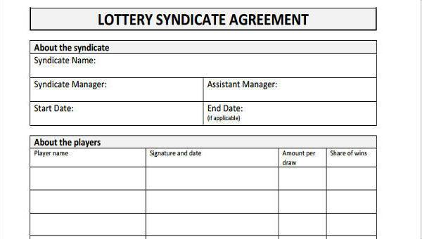 Free 8+ lottery syndicate agreement forms in pdf.
