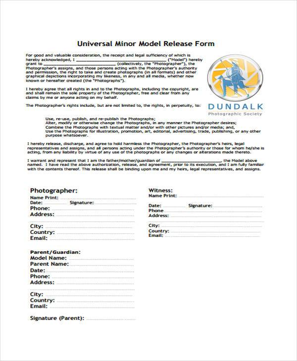 sample minor model release form1