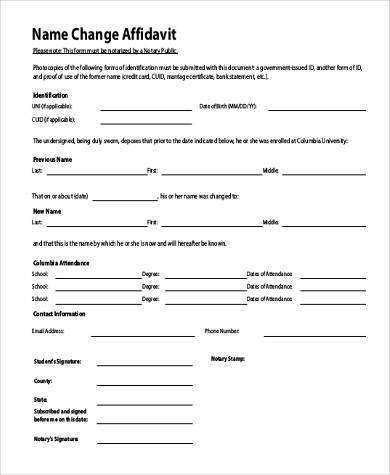 Affidavit Form Examples  Free Sample Example Format Download