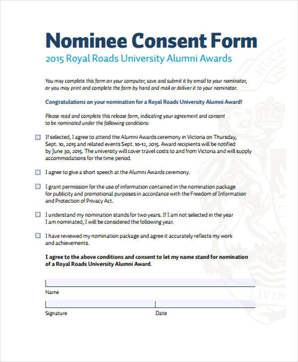 sample nominees consent form
