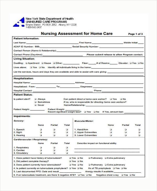 Medical Assessment Form Samples  Free Sample Example Format