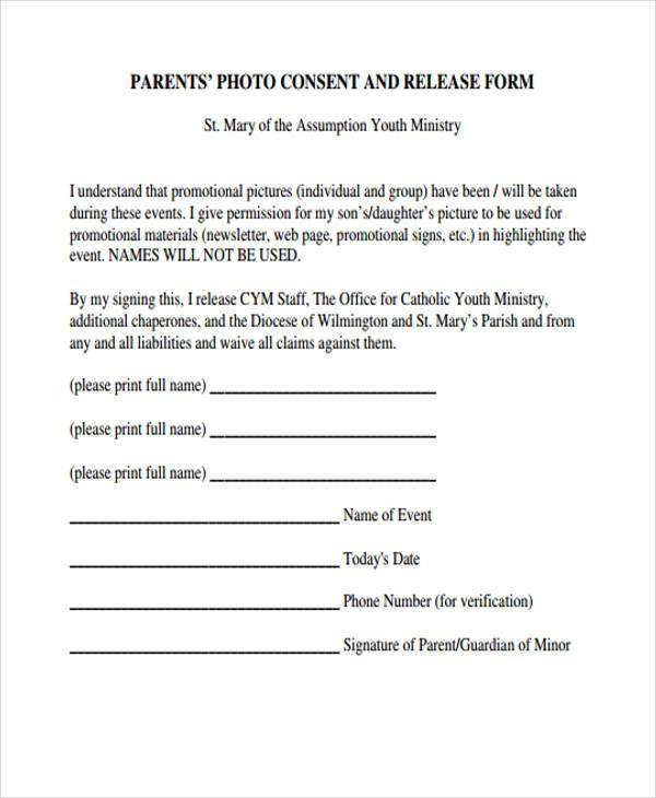 Marvelous Sample Parent Photo Release Form1
