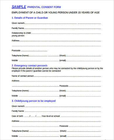 sample parental consent form