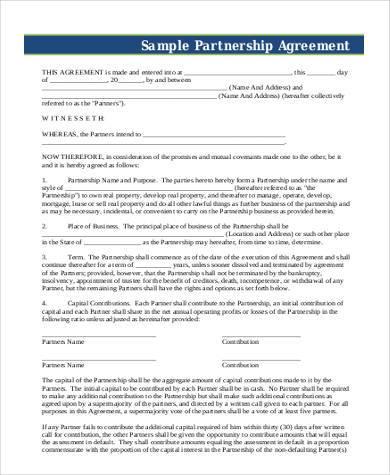 sample partnership agreement form