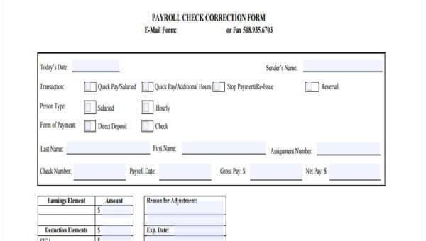 sample payroll correction forms 7 free documents in word pdf