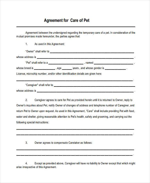sample pet custody agreement form