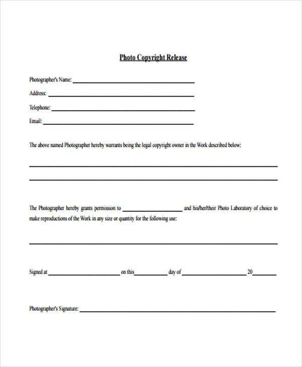 Copyright Release Form Samples  Free Sample Example Format Download