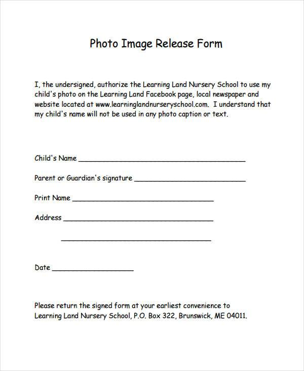 8 image release form samples free sample example for Free photography print release form template