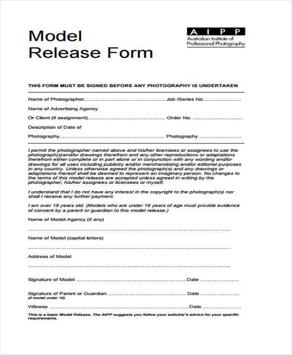 7 model release form samples free sample example format download