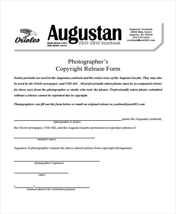 Stunning Photo Copyright Release Forms Pictures  Best Resume