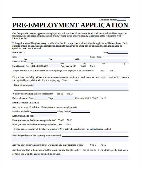 employee application form free