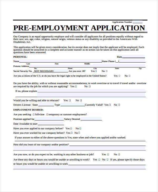sample of employment application form