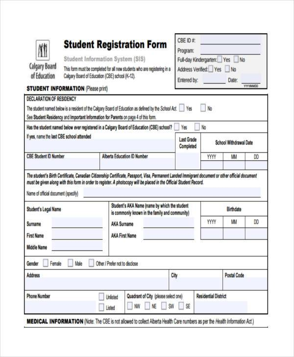 7+ Student Registration Form Samples - Free Sample, Example