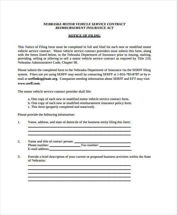 Service Contract Form Samples  Free Sample Example Format