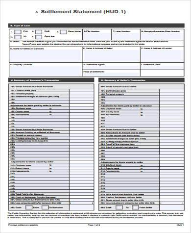 sample settlement statement form