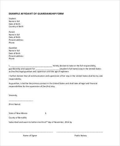 sample sole guardian affidavit form