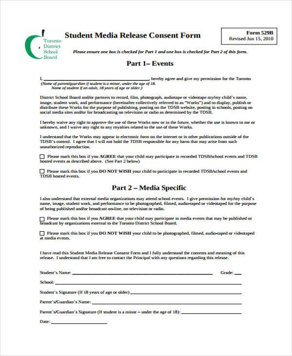 sample student media release form