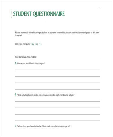 sample student questionnaire form