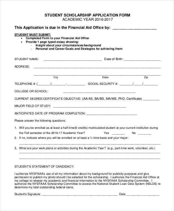 7 Student Application Form Samples Free Sample Example Format – School Admission Form Sample