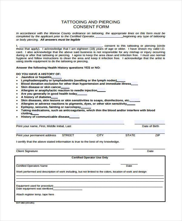 Tattoo Consent Form Samples  Free Sample Example Format Download