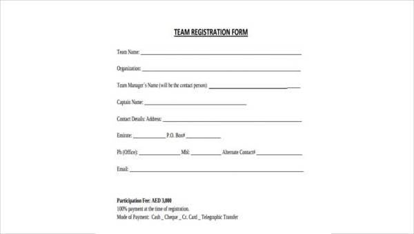Free 7 Sample Team Registration Forms In Pdf Ms Word