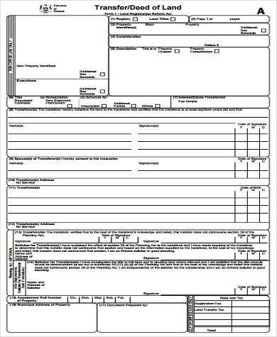sample transfer deed form