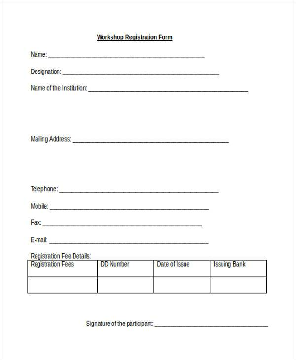 sample workshop registration form