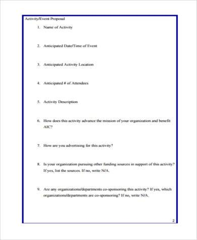 school activity proposal form