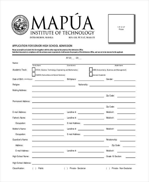 school application form example