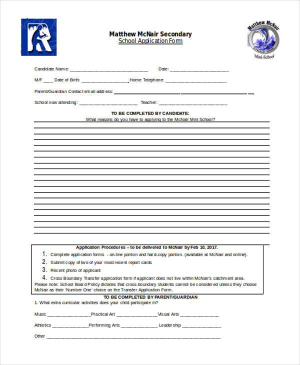 school application form in doc