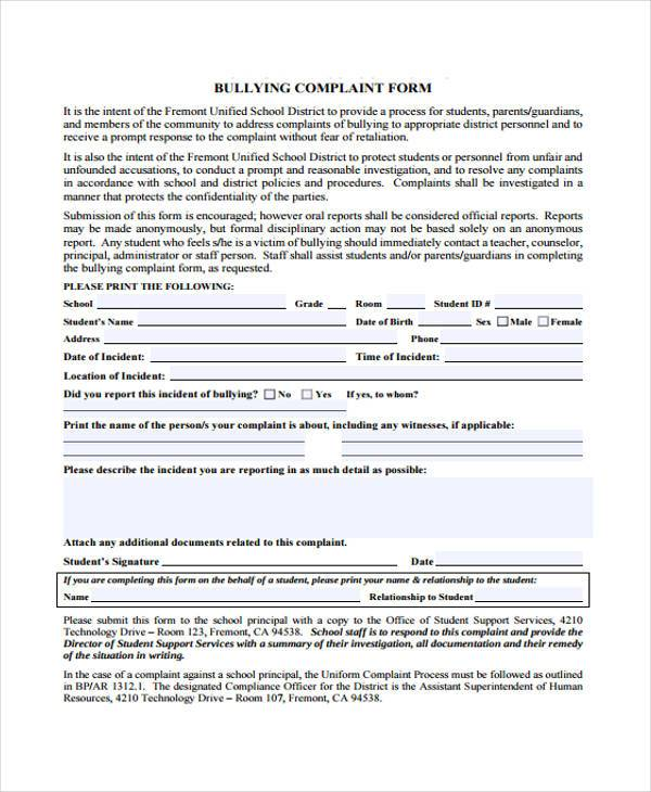 School Bullying Complaint Form Sample