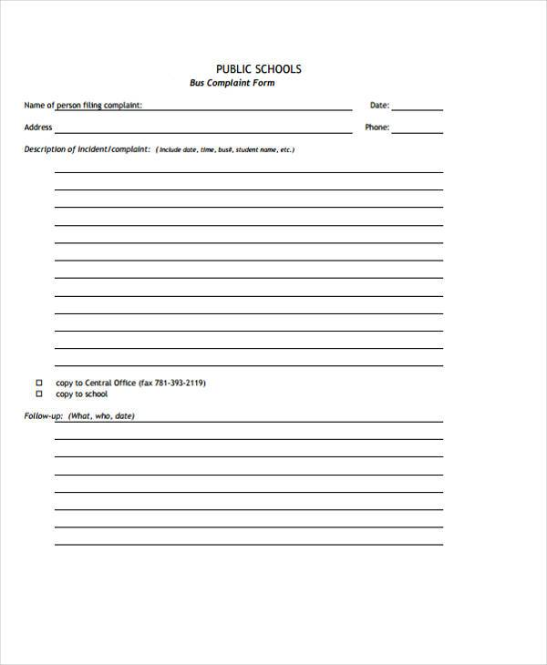 school bus complaint form example
