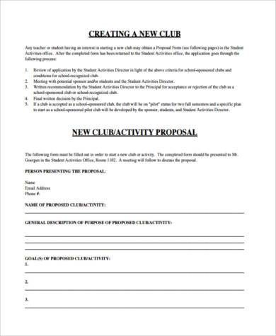school club proposal form