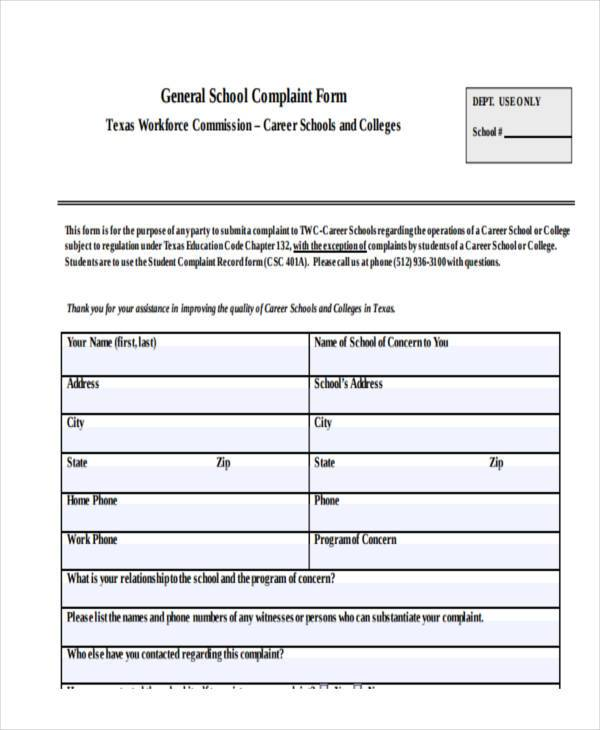school complaint form example