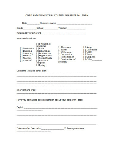 school counseling form sample