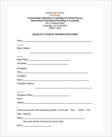 school counseling form in pdf