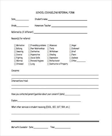 Sample Counseling Referral Forms   Free Documents In Word Pdf