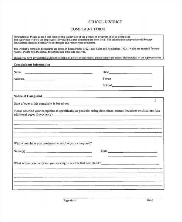 school district complaint form example
