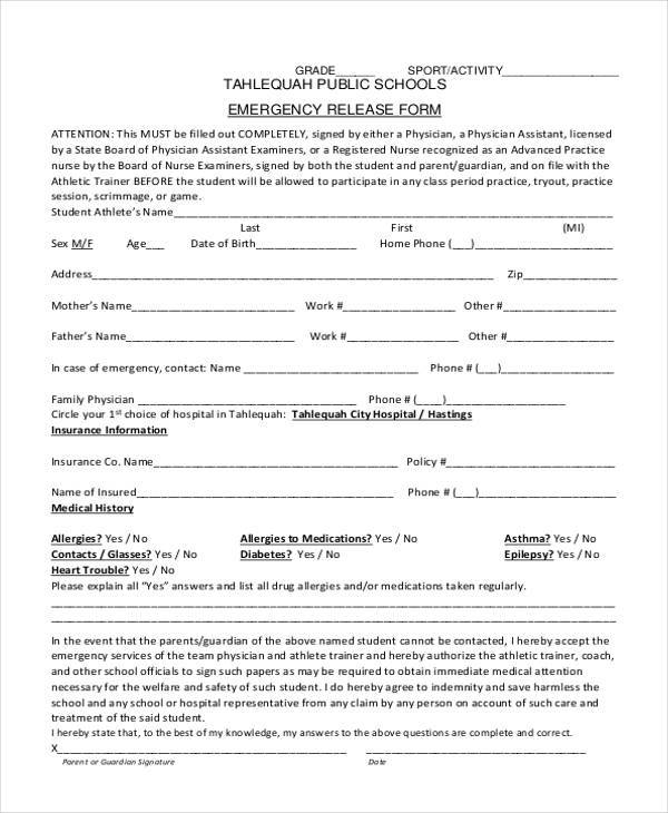 school emergency release form1