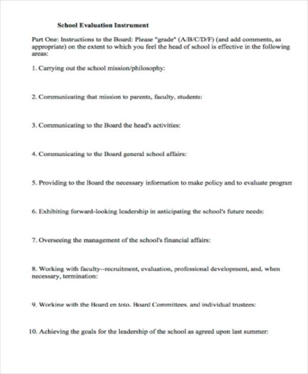 school evaluation instrument form1