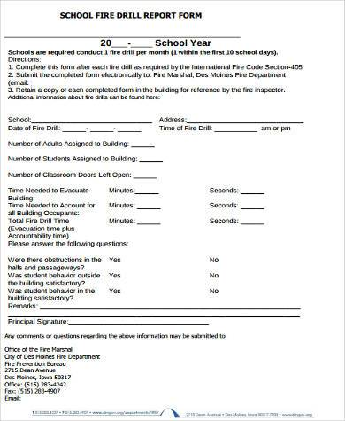 school fire reporting form