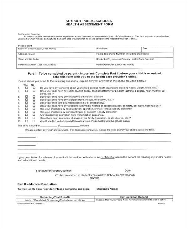 Health Assessment Form Samples  Free Sample Example Format
