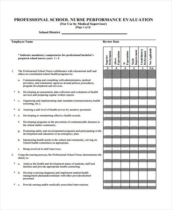 Nurse Evaluation Form Samples  Free Sample Example Format