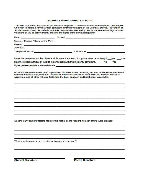 school parent complaint form