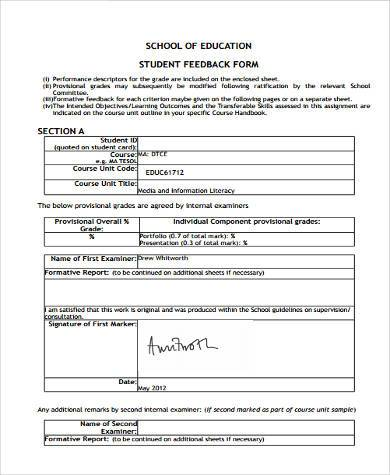 school report feedback form