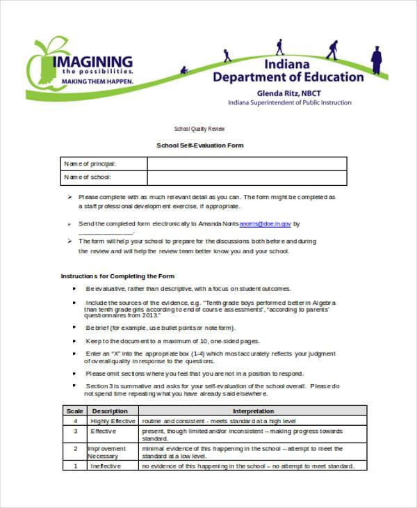 School Self Evaluation Form Example